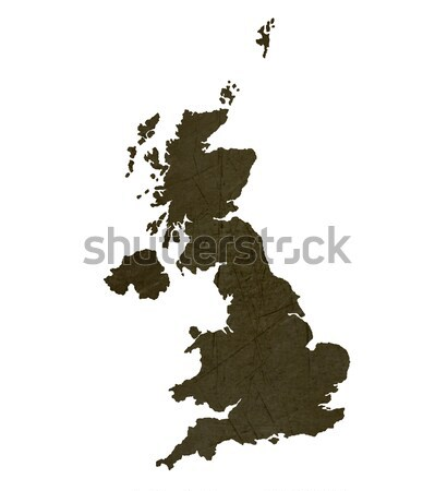 Dark silhouetted map of United Kingdom Stock photo © speedfighter
