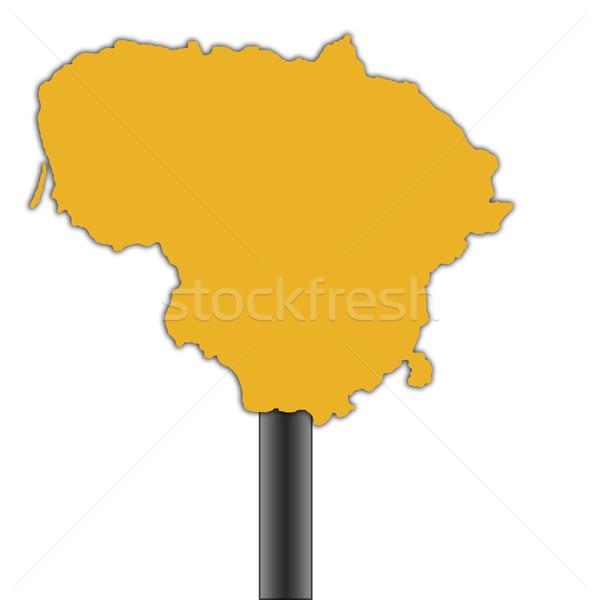 Photo stock: Lituanie · carte · panneau · routier · isolé · blanche · route
