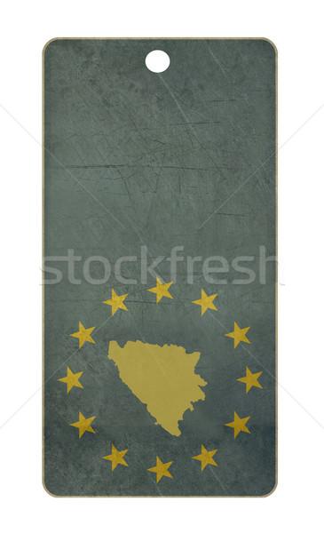 Foto stock: Bosnia · Herzegovina · viaje · etiqueta · aislado · blanco · espacio · de · la · copia