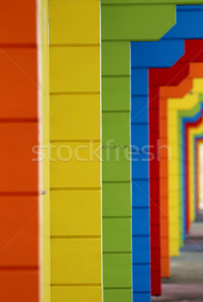 Colorful wooden beach chalets Stock photo © speedfighter