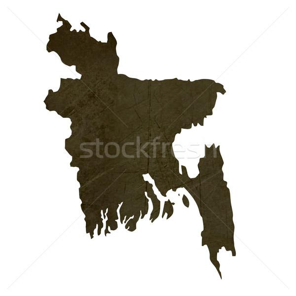 Sötét térkép Banglades mintázott izolált fehér Stock fotó © speedfighter