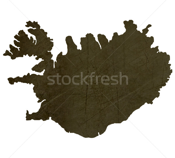 Dark silhouetted map of Iceland Stock photo © speedfighter