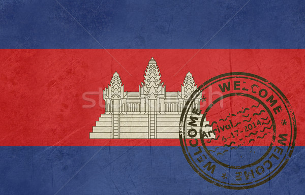 Welcome to Cambodia flag with passport stamp Stock photo © speedfighter