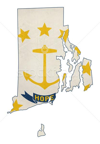 Grunge Rhode Island bayrak harita yalıtılmış beyaz Stok fotoğraf © speedfighter