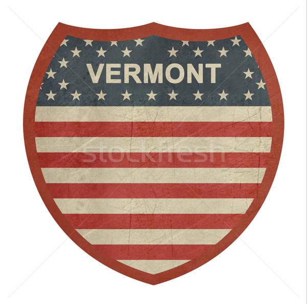 Grunge Vermont amerikan eyaletler arası otoyol işareti yalıtılmış Stok fotoğraf © speedfighter