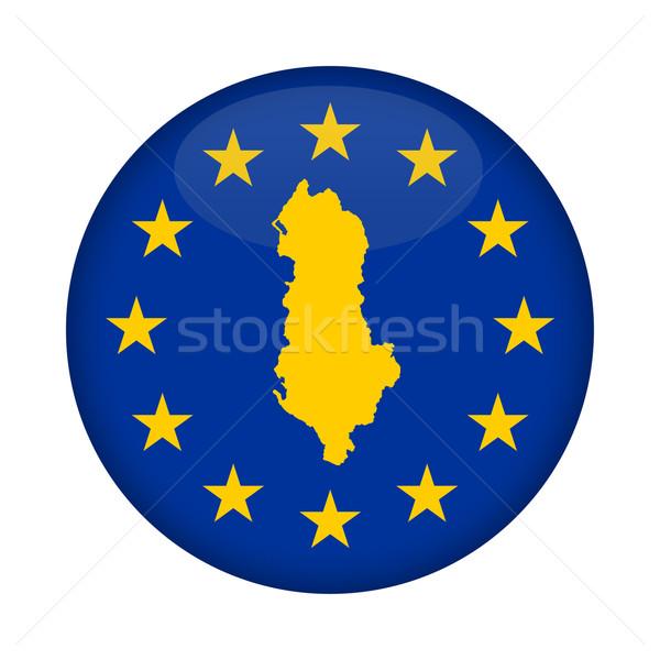 Albánia térkép európai szövetség zászló gomb Stock fotó © speedfighter