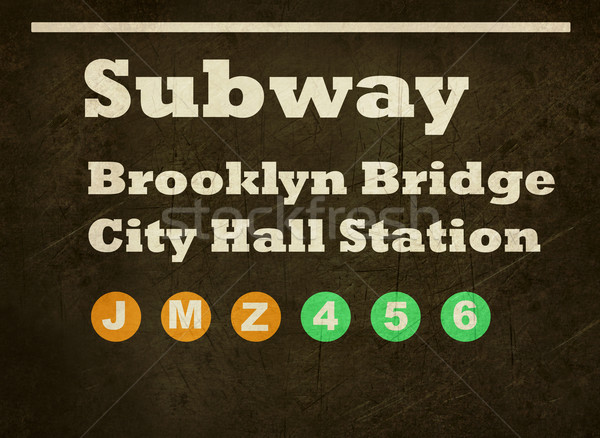 Grunge Brooklyn Bridge subway sign Stock photo © speedfighter