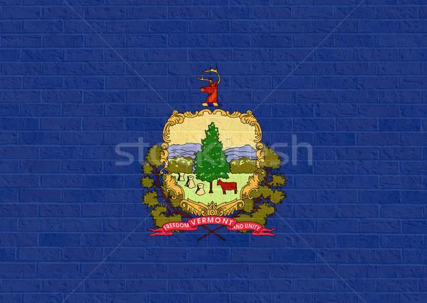 バーモント州 フラグ レンガの壁 アメリカ 孤立した 白 ストックフォト © speedfighter