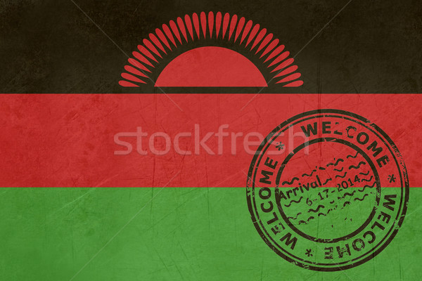 Welcome to Malawi flag with passport stamp Stock photo © speedfighter