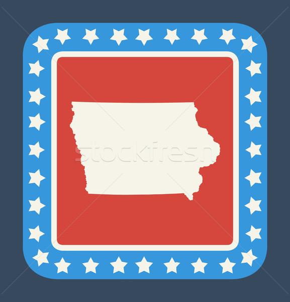 Iowa gomb amerikai zászló web design stílus izolált Stock fotó © speedfighter