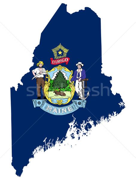 Maine banderą Pokaż odizolowany biały USA Zdjęcia stock © speedfighter