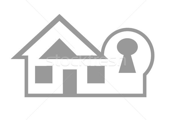 ホーム セキュリティ ウェブのアイコン 孤立した 白 ストックフォト © speedfighter
