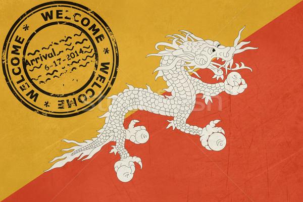 Foto stock: Bem-vindo · Butão · bandeira · passaporte · carimbo · viajar