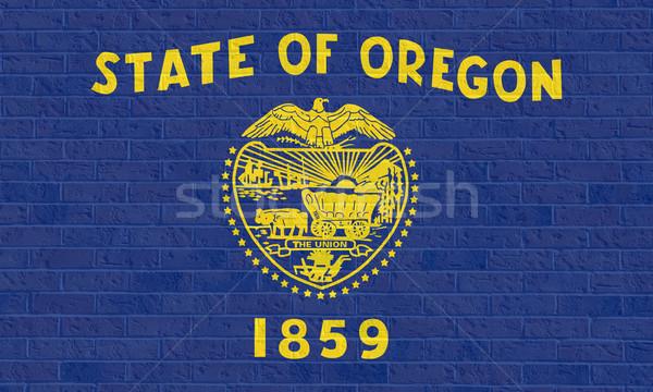 Oregon vlag muur amerika geïsoleerd witte Stockfoto © speedfighter