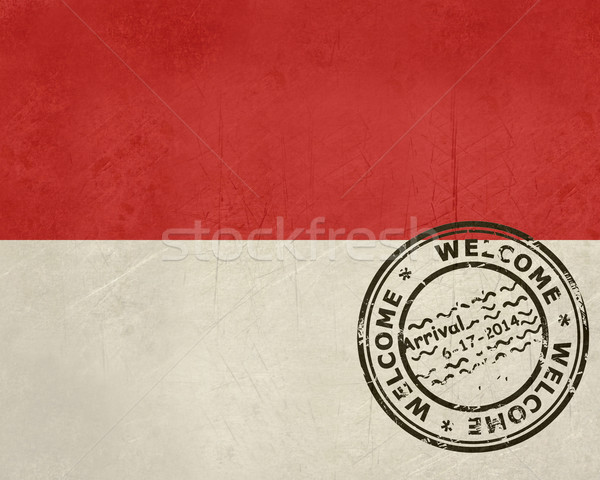 Welcome to Monaco flag with passport stamp Stock photo © speedfighter
