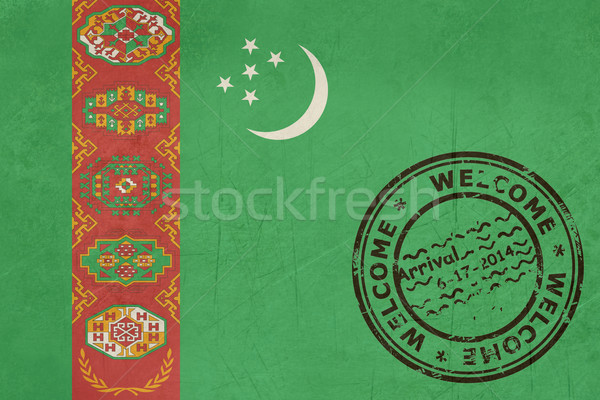 üdvözlet Türkmenisztán zászló útlevél bélyeg utazás Stock fotó © speedfighter