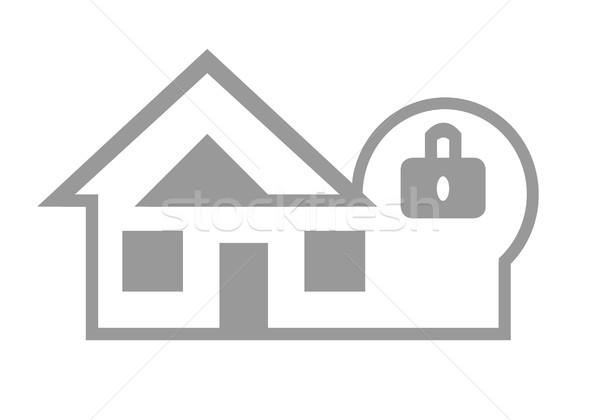Ev güvenlik web simgesi ev yalıtılmış beyaz Stok fotoğraf © speedfighter