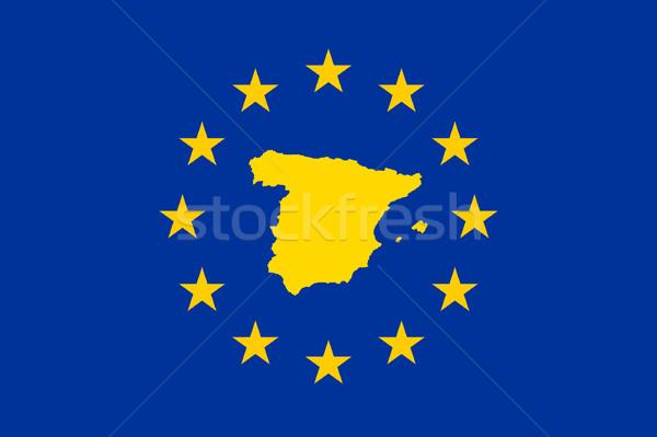España europeo bandera mapa Unión amarillo Foto stock © speedfighter
