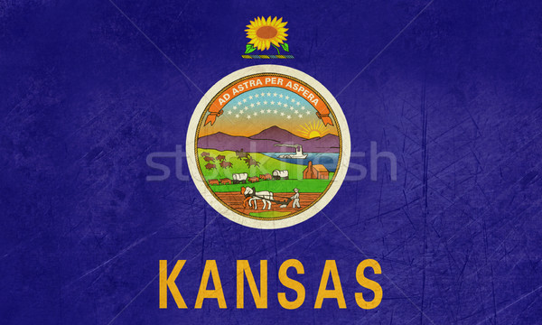 Stock photo: Grunge Kansas state flag