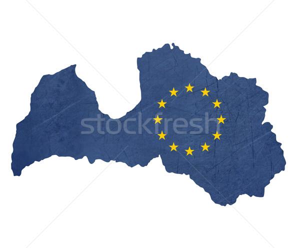 Europese vlag kaart Letland geïsoleerd witte Stockfoto © speedfighter