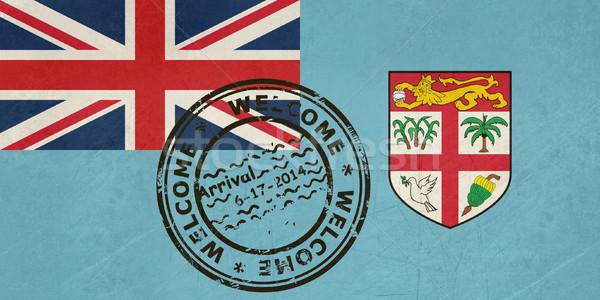 Welkom Fiji vlag paspoort stempel reizen Stockfoto © speedfighter