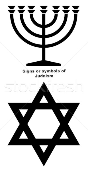 Borden symbolen jodendom kandelaar star zwarte Stockfoto © speedfighter