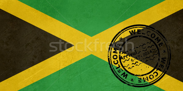 Welcome to Jamaica flag with passport stamp Stock photo © speedfighter