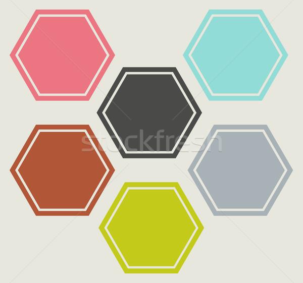 Web design ikon szett alakú ikonok különböző színek Stock fotó © speedfighter