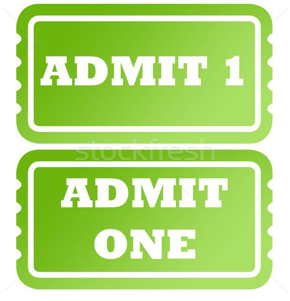 Een groene tickets ingesteld twee geïsoleerd Stockfoto © speedfighter