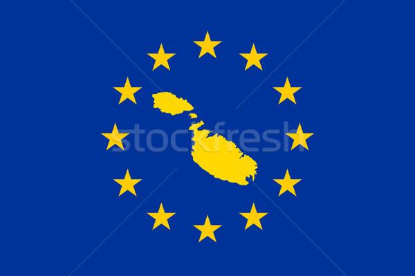 Malta europejski banderą Pokaż Unii żółty Zdjęcia stock © speedfighter