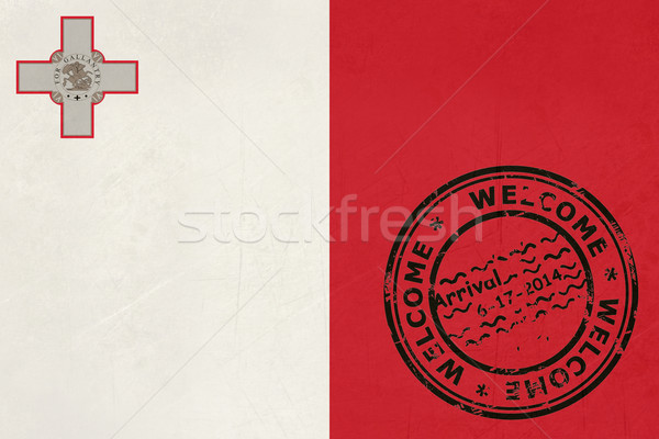 Welcome to Malta flag with passport stamp Stock photo © speedfighter