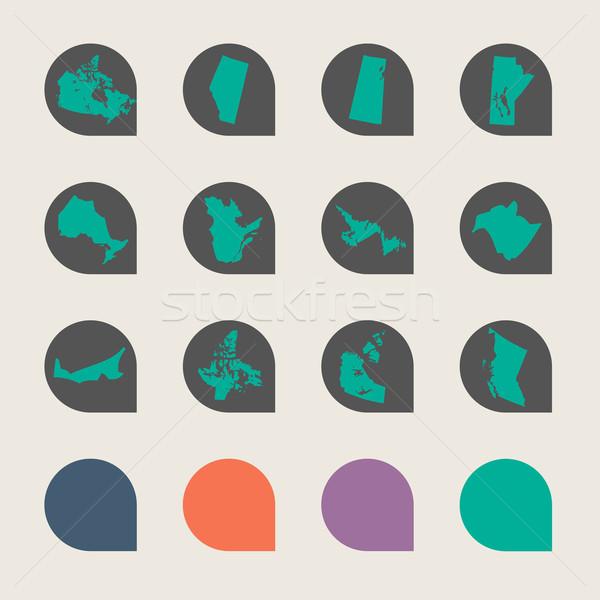 Pokaż przyciski zestaw znacznik web design kolory Zdjęcia stock © speedfighter