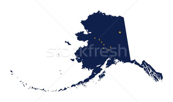 Alasca bandeira mapa isolado branco EUA Foto stock © speedfighter