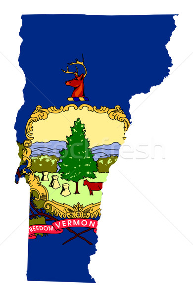 Vermont zászló térkép izolált fehér USA Stock fotó © speedfighter