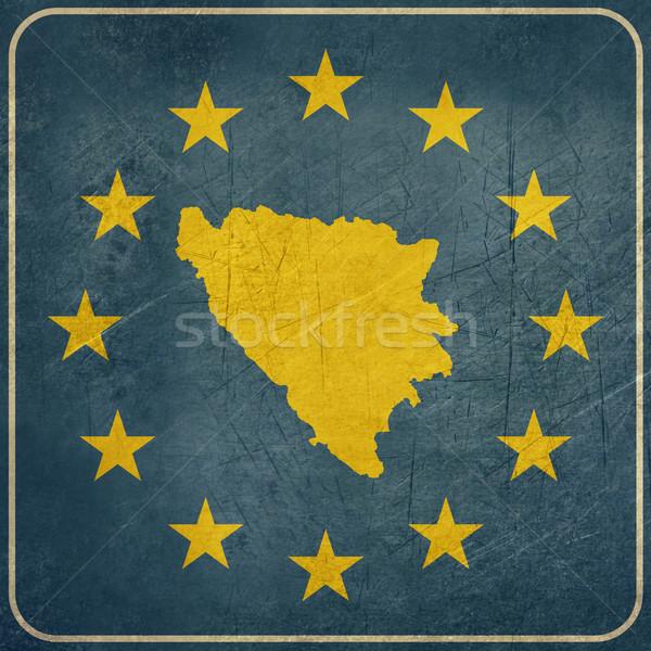 Grunge Bosnia Herzegovina europeo botón mapa azul Foto stock © speedfighter