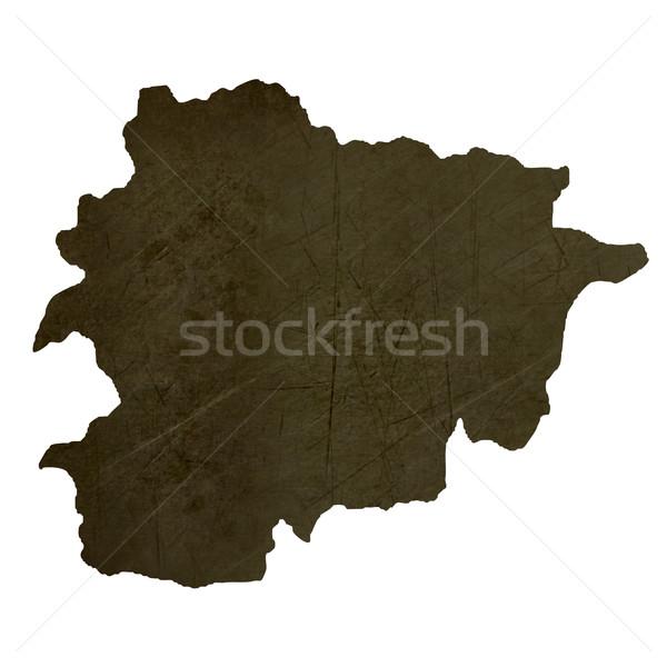Donkere kaart Andorra geïsoleerd witte Stockfoto © speedfighter