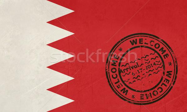Bienvenida Bahréin bandera pasaporte sello viaje Foto stock © speedfighter
