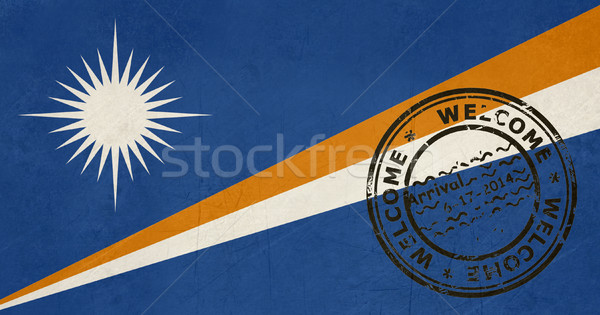 Welcome to the Marshall Islands flag with passport stamp Stock photo © speedfighter