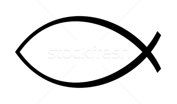христианской рыбы изолированный белый копия пространства черный Сток-фото © speedfighter