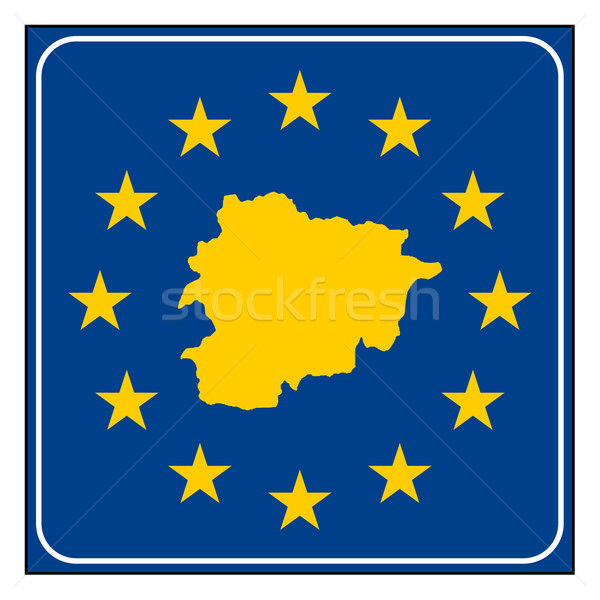 Andorra europese knop kaart Blauw Stockfoto © speedfighter