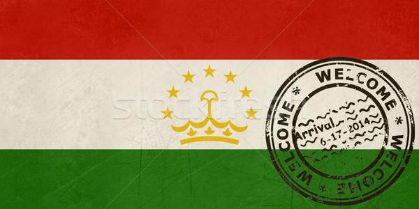 üdvözlet Tádzsikisztán zászló útlevél bélyeg utazás Stock fotó © speedfighter