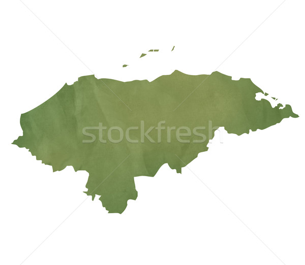 Vieux vert papier carte Honduras isolé Photo stock © speedfighter