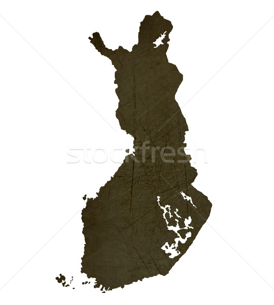 Dark silhouetted map of Finland Stock photo © speedfighter