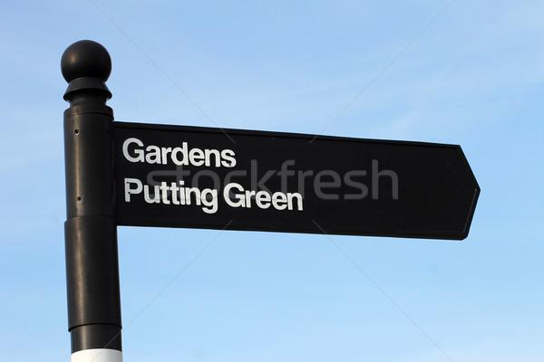 Jardins vert signe traditionnel anglais ciel bleu Photo stock © speedfighter