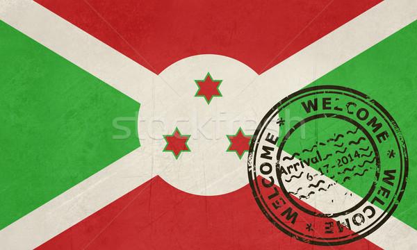 Bem-vindo Burundi bandeira passaporte carimbo viajar Foto stock © speedfighter