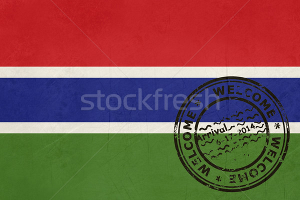Welcome to Gambia flag with passport stamp Stock photo © speedfighter