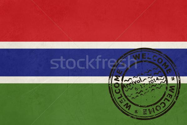 歓迎 ガンビア フラグ パスポート スタンプ 旅行 ストックフォト © speedfighter