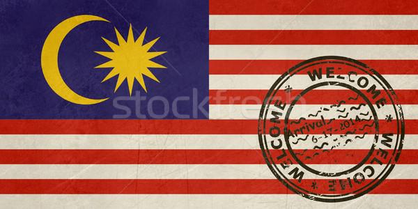 Bem-vindo Malásia bandeira passaporte carimbo viajar Foto stock © speedfighter