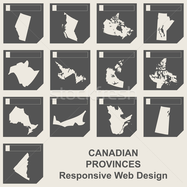 Set of Canadian province map buttons Stock photo © speedfighter