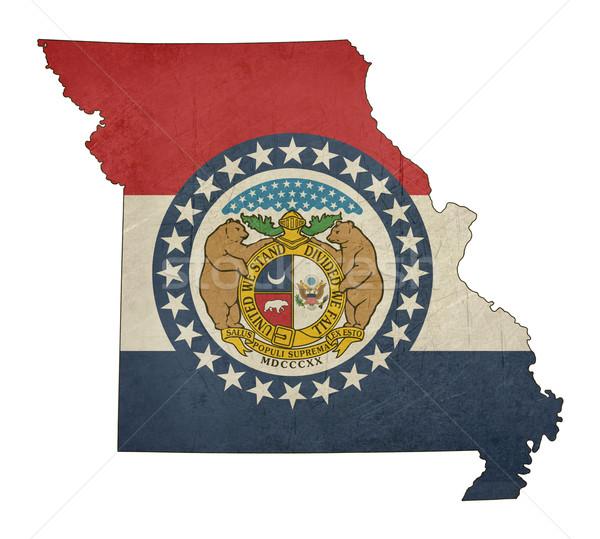 Grunge Missouri bandeira mapa isolado branco Foto stock © speedfighter